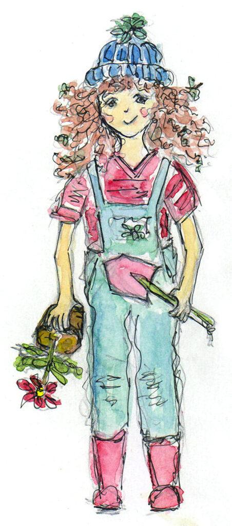 Wurzerl als Gärtnerin
