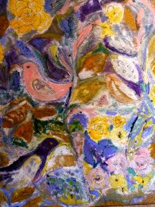 Gemälde Vögel und Blumen im LATÜT-Garten
