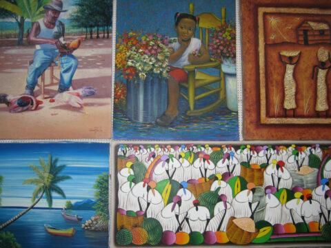 Souvenier-Gemälde mit Lokalkolorit der Dominikanischen Republik