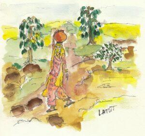LATÜT-Illustrationen, indisches Blumenmärchen, Mädchen beim Wasserholen