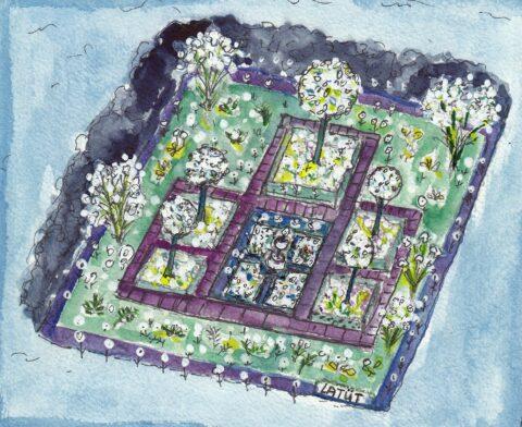 LATÜT-Illustrationen, weißer Nachtgarten des Maharadscha, Blumenmärchen aus Indien