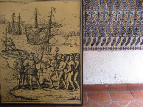 Museo las Casas Reales, Santo Domingo, Ankunft der Spanier auf der Isla Hispaniola, dominikanische Republik