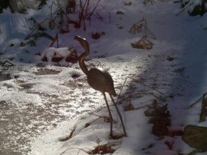 Im Januar ist der Teich in Wurzerlsgarten meist zugefroren.