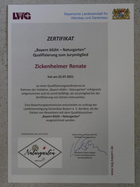 Das Zertifikat zur Natur-Zertifiziererin ist da!