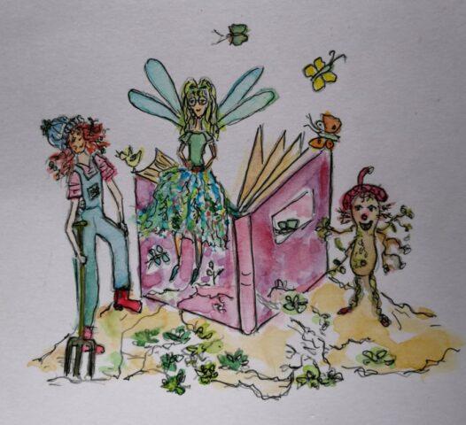 Das Eingangsbild zu Wurzerls Märchen, gemalt von Karin Berends-Lüürßen für Wurzerlsgarten